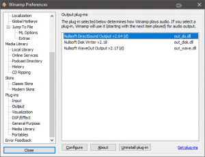 Nullsoft DirectSound Output selected